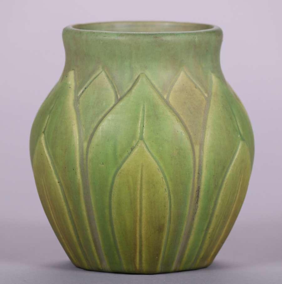 Roseville Early Velmoss Matte Green Artichoke Vase California Historical Design
