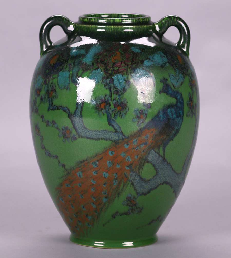 Rookwood Peacock Vase By E T Hurley 1924 California Historical Design