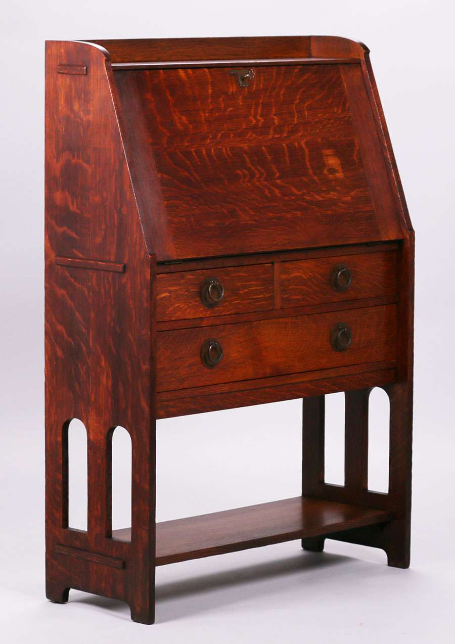 Stickley brothers drop front desk california historical