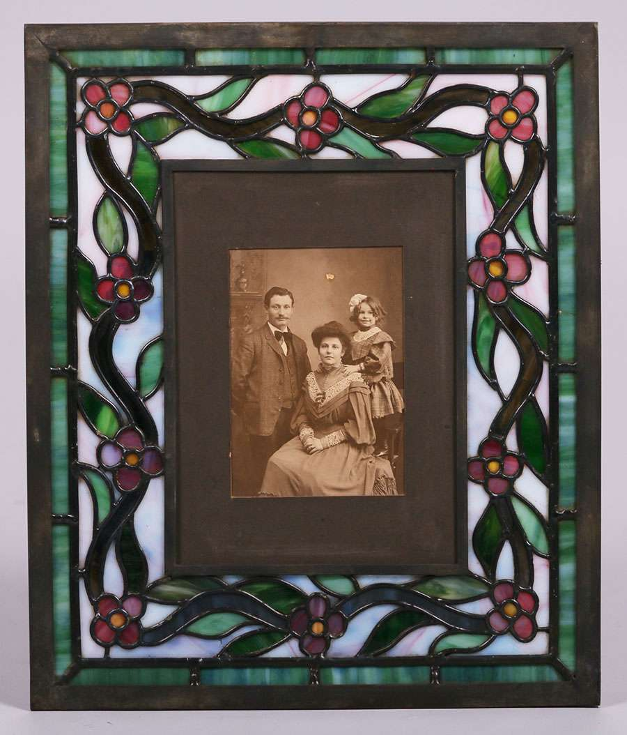 arts crafts stained glass hanging picture frame c1910