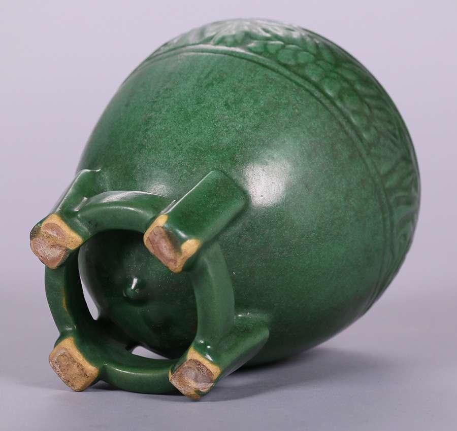 Weller Matte Green Vase On Footed Base California Historical Design