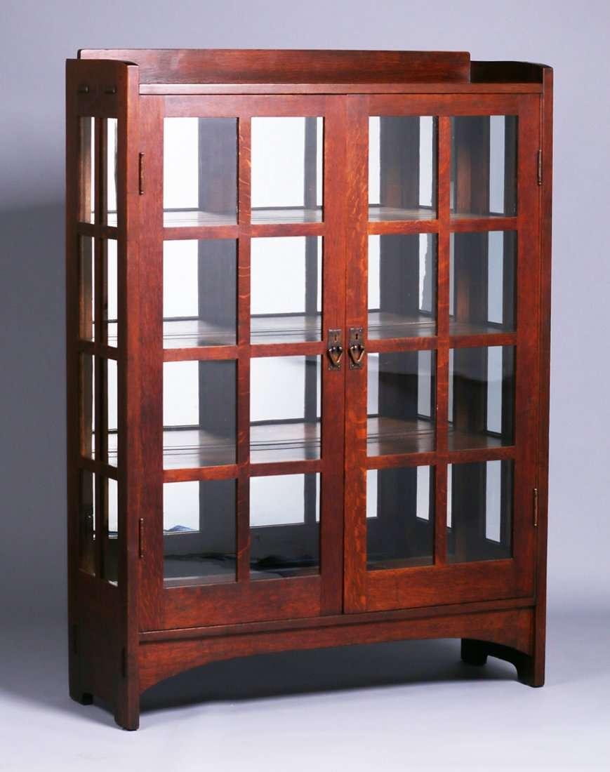 Gustav Stickley #815 Double Door China Cabinet With Original Mirrored Back.  Signed. Original Finish. 63.75u2033h X 45.5u2033w X 15.5u2033d SOLD