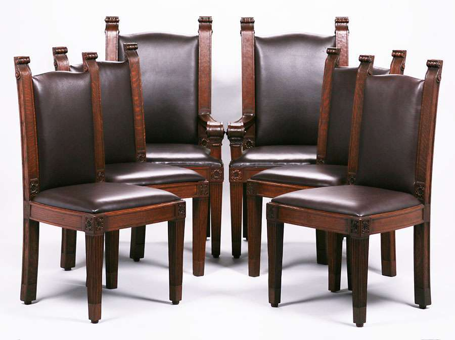 Charming Set Of 6 Mathews Furniture Shop Dining Chairs C1907 1918