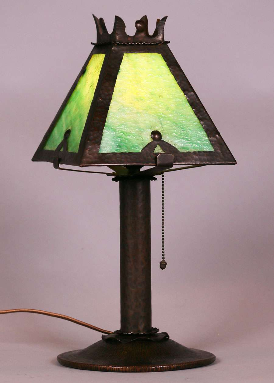 Lot 293 Benedict Studios Hammered Copper Lamp C1910 California Historical Design