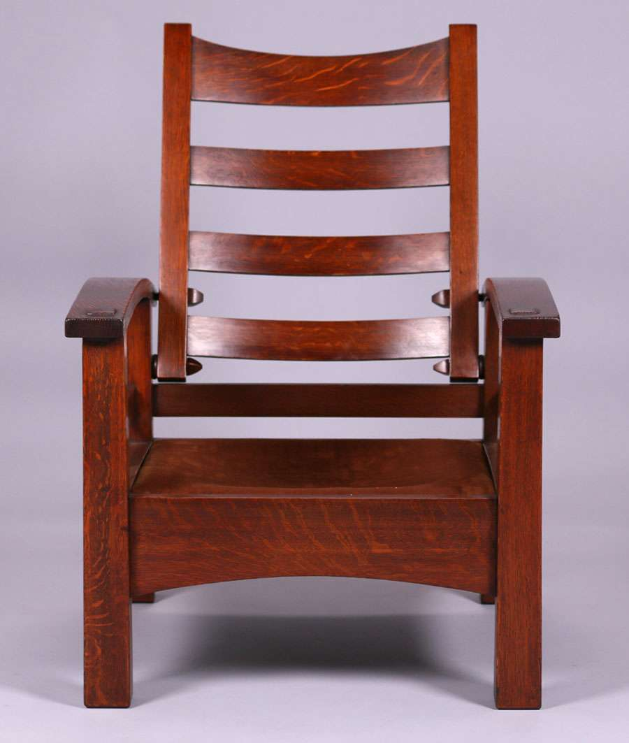 Mary Morris Chair Aerobics: Early Gustav Stickley #2340 Bowarm Morris Chair C1901