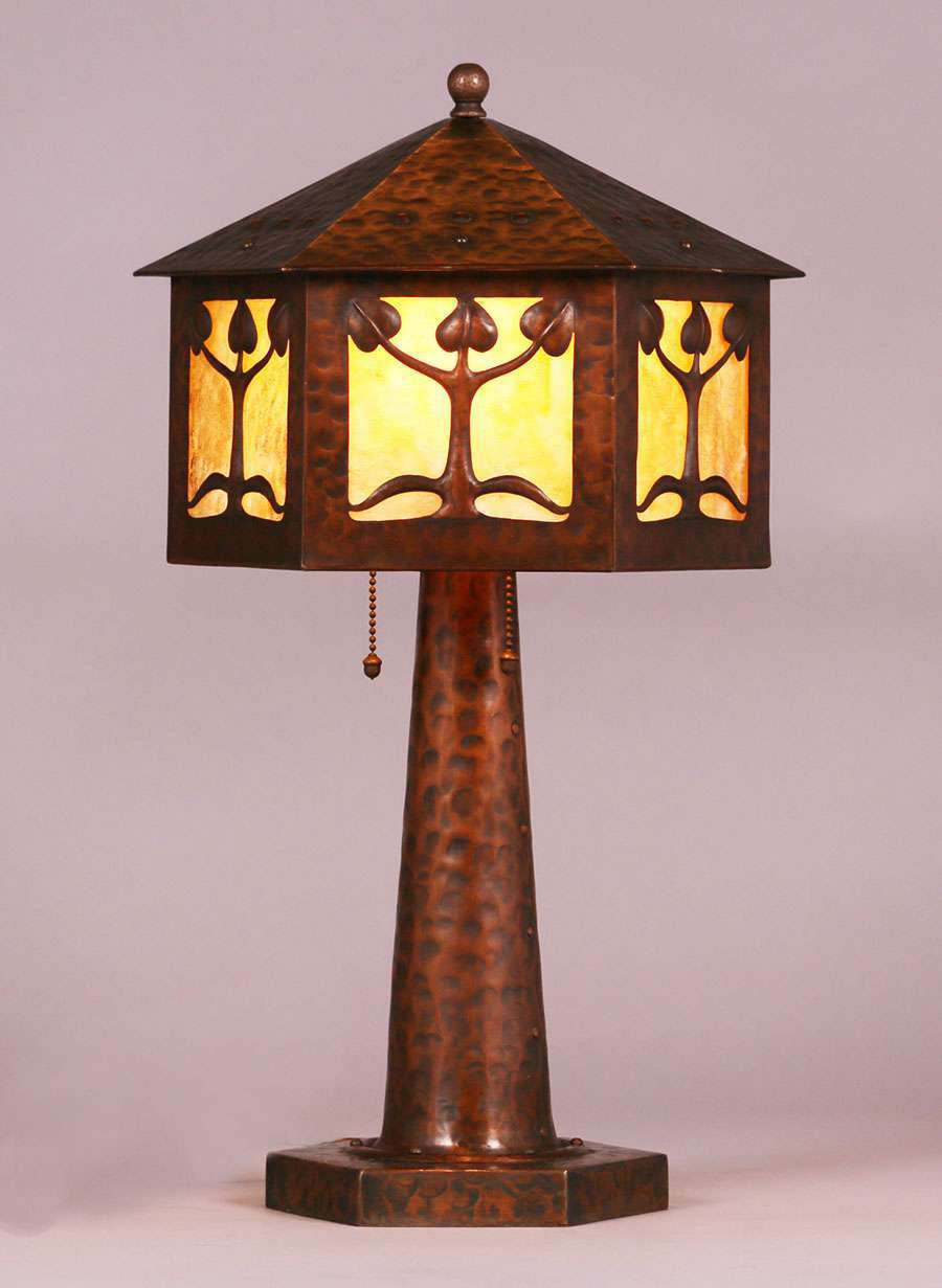 Arts Amp Crafts Hammered Copper Six Sided Lamp C1910