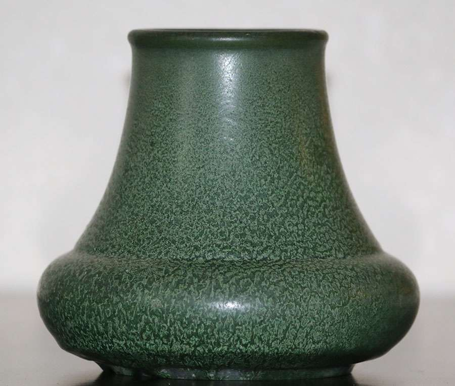 Hampshire Pottery Speckled Matte Green Vase California Historical Design