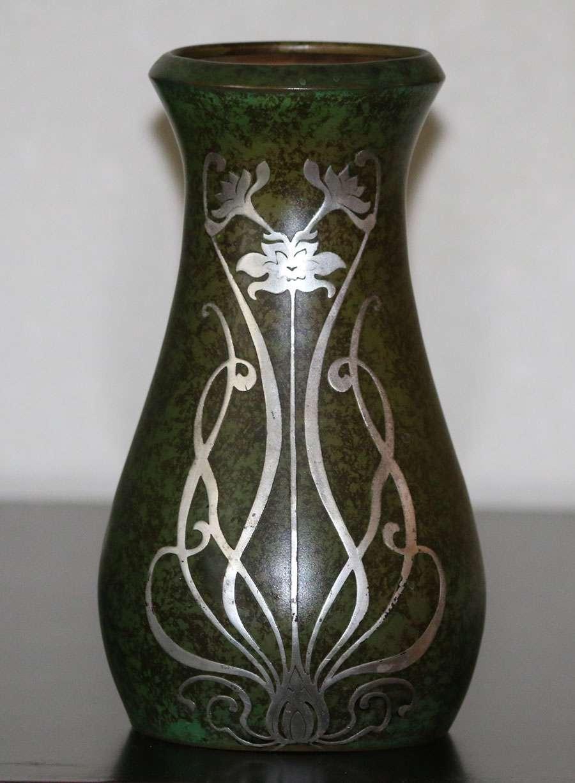 Heintz Sterling On Bronze Green Vase 8 5 Quot H California Historical Design