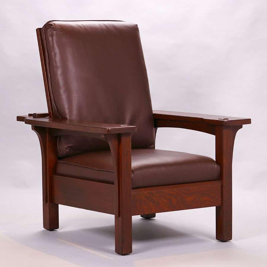Mary Morris Chair Aerobics: Rare L&JG Stickley Paddle-Arm Morris Chair
