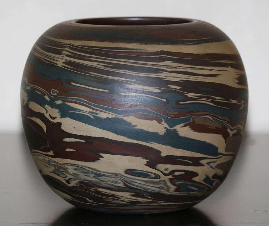 Niloak Pottery Spherical Mission Ware Swirled Vase California