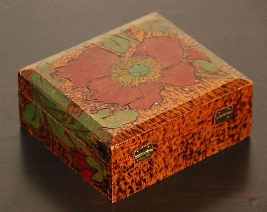 Arts Amp Crafts Pyrography Box C1910 California Historical Design