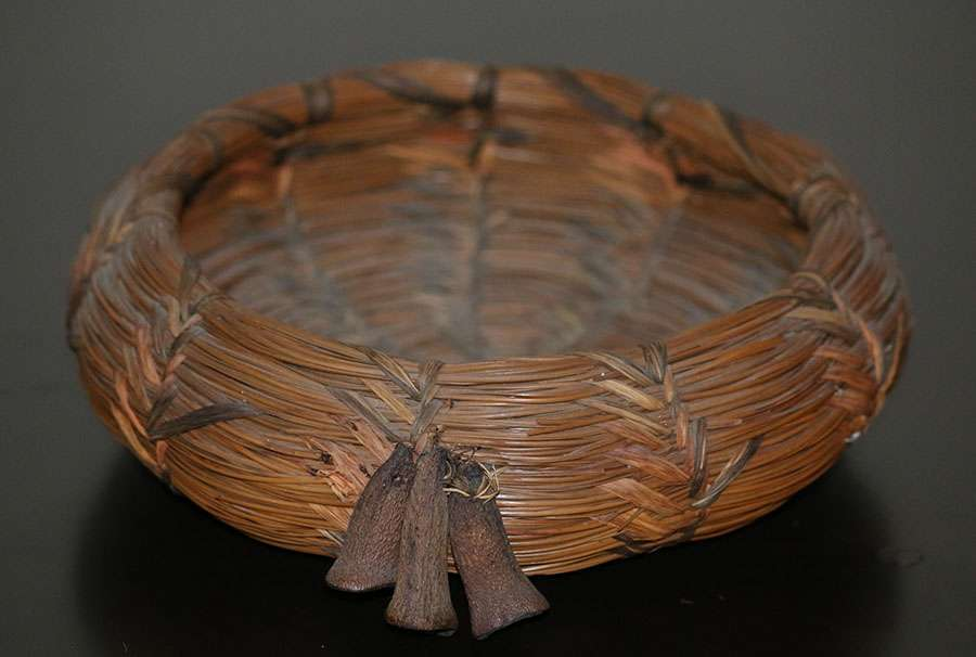 W R Clay Native American Pine Needle Basket California Historical Design