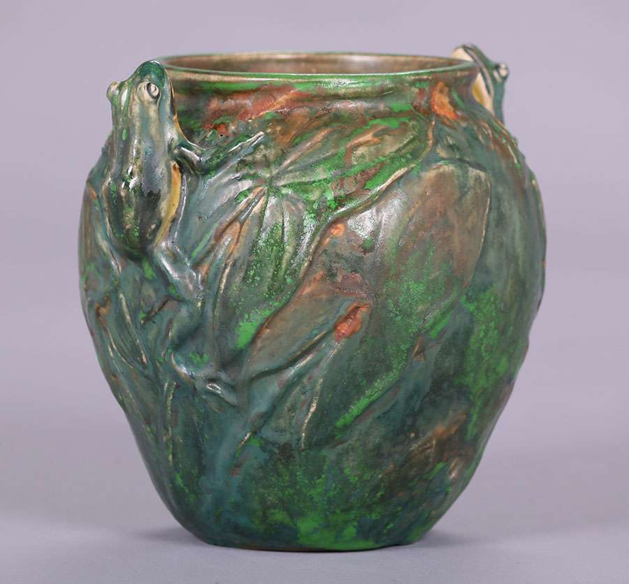 Three Weller Coppertone Vases California Historical Design