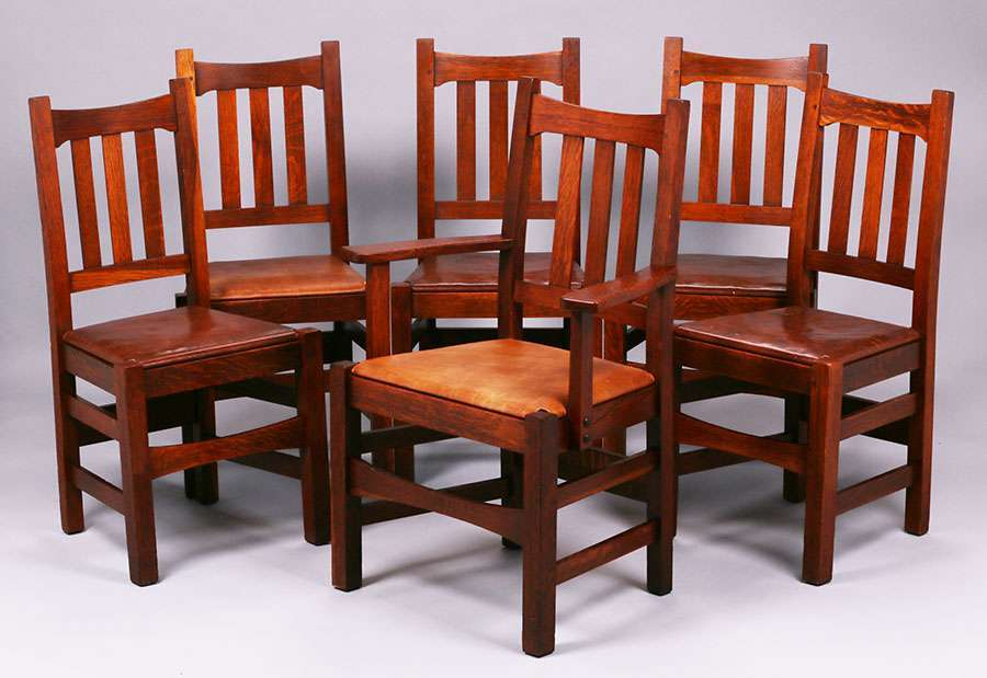Set Of 6 Stickley Brothers #379 1/2 Dining Chairs. Signed With Branded  Mark. Excellent Original Finish. Extremely Sturdy. Armchair Measures 39u2033w X  28u2033w X ...