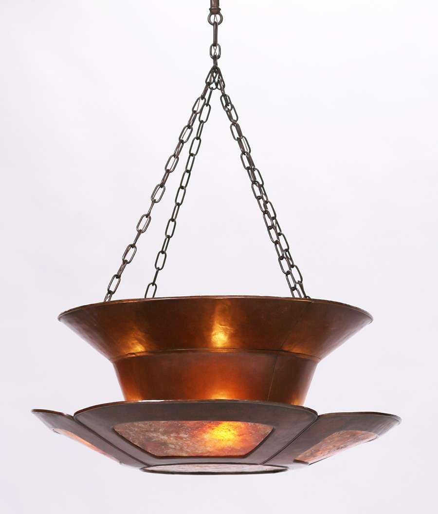Harry Dixon Hammered Copper Amp Mica Chandelier C1921 1925