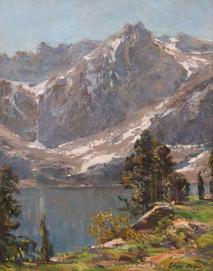 Edgar Payne Painting Sierra Mountain Lake California Historical Design