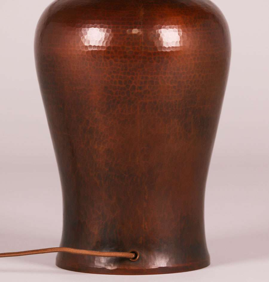 Early Michael Adams Hammered Copper Amp Mica Lamp 1988