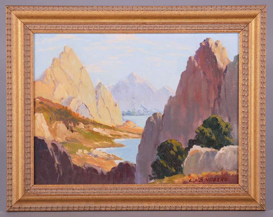 Lawrence Hansen Sindberg Painting Sierra Mountains California Historical Design