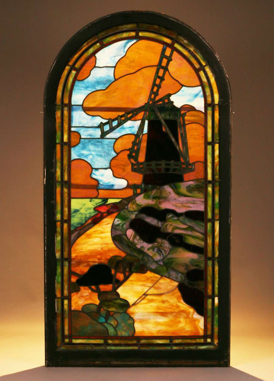 Arts Amp Crafts Stained Glass Window Dutch Windmill C1910 California Historical Design