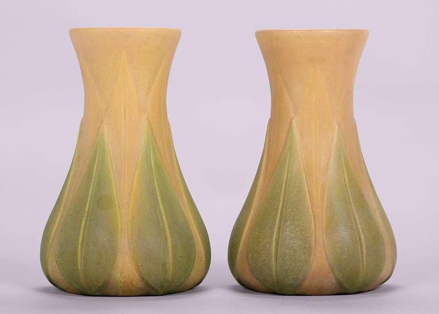 Pair Roseville Early Velmoss 1175h Vases California Historical