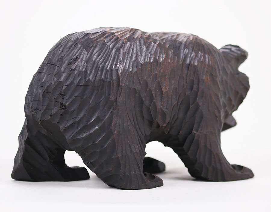 Arts Amp Crafts Hand Carved Black Forest Bear With Salmon C1910 1920 California Historical Design