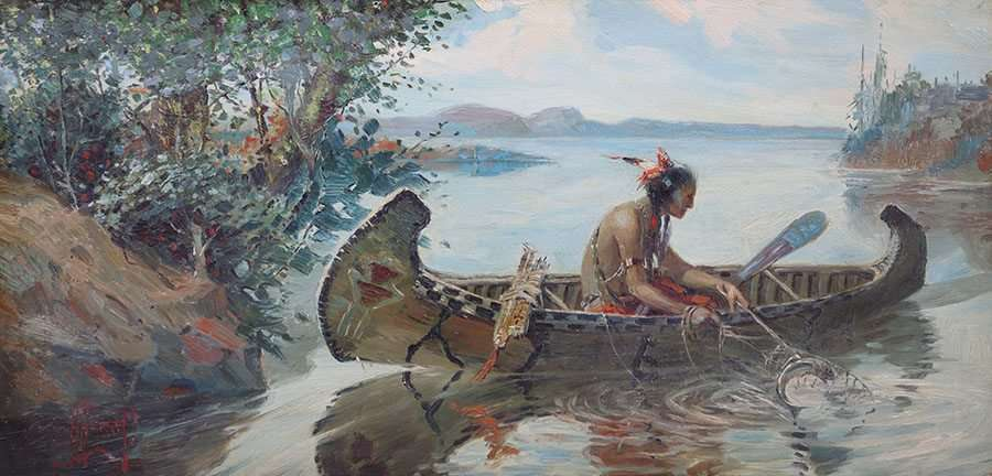 Herbert Herget Painting Native American Fishing