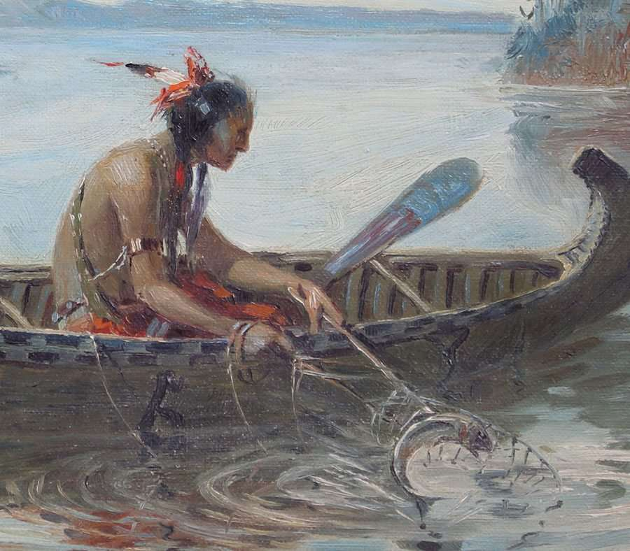 Herbert Herget Painting Native American Fishing