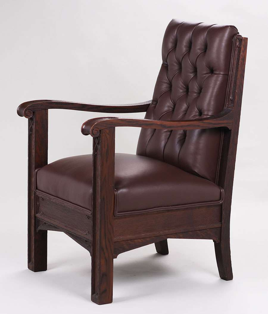Fantastic Pair Of Mathews Furniture Shop Carved Oak Armchair From The  Masonic Lodge, 25 Van Ness, San Francisco C1912. Unsigned. Old Refinish.