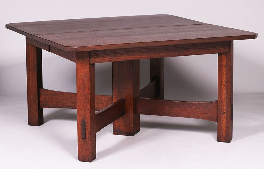This Is An Extremely Rare Variation Of Stickley S Cross Stretcher Dining Table 54 X 30 5 H Extends To 120 With All 6 Leaves Sold