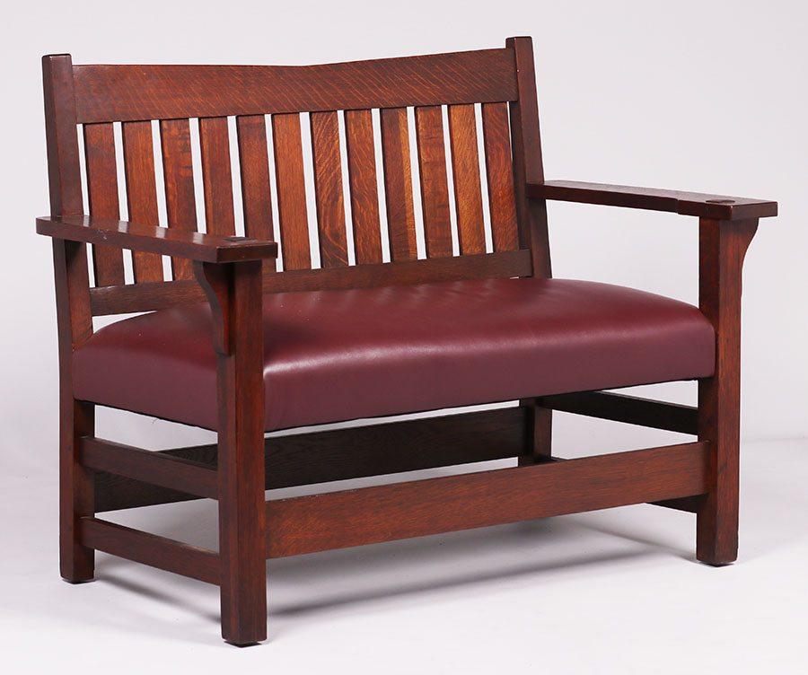 Fabulous Gustav Stickley V Back Bench California Historical Design Beatyapartments Chair Design Images Beatyapartmentscom