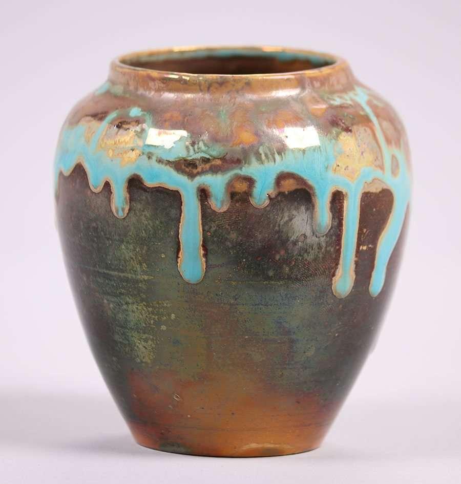 Pewabic Pottery Iridescent Blue Drip Glaze Vase California Historical Design