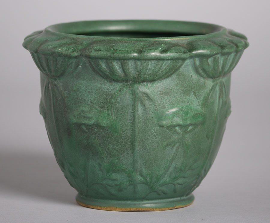 Weller Pottery Matte Green Poppy Jardiniere California
