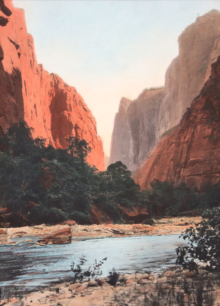 Vintage Hand Tinted Photo Zion National Park Utah C1920s California Historical Design