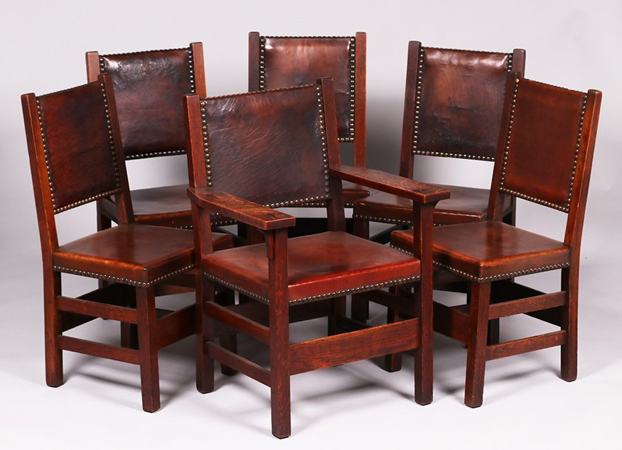 One Armchair Measures 36.5u2033h X 26.25u2033w X 22u2033d. Five Side Chairs Each  Measure 37.5u2033h X 18.5u2033w X 17u2033d SOLD