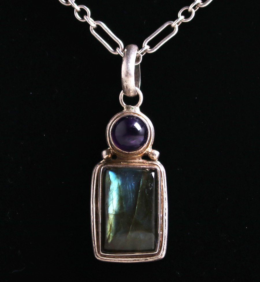 gemstone blue description pendant sterling bezel labradorite set necklace silver flash statement shop