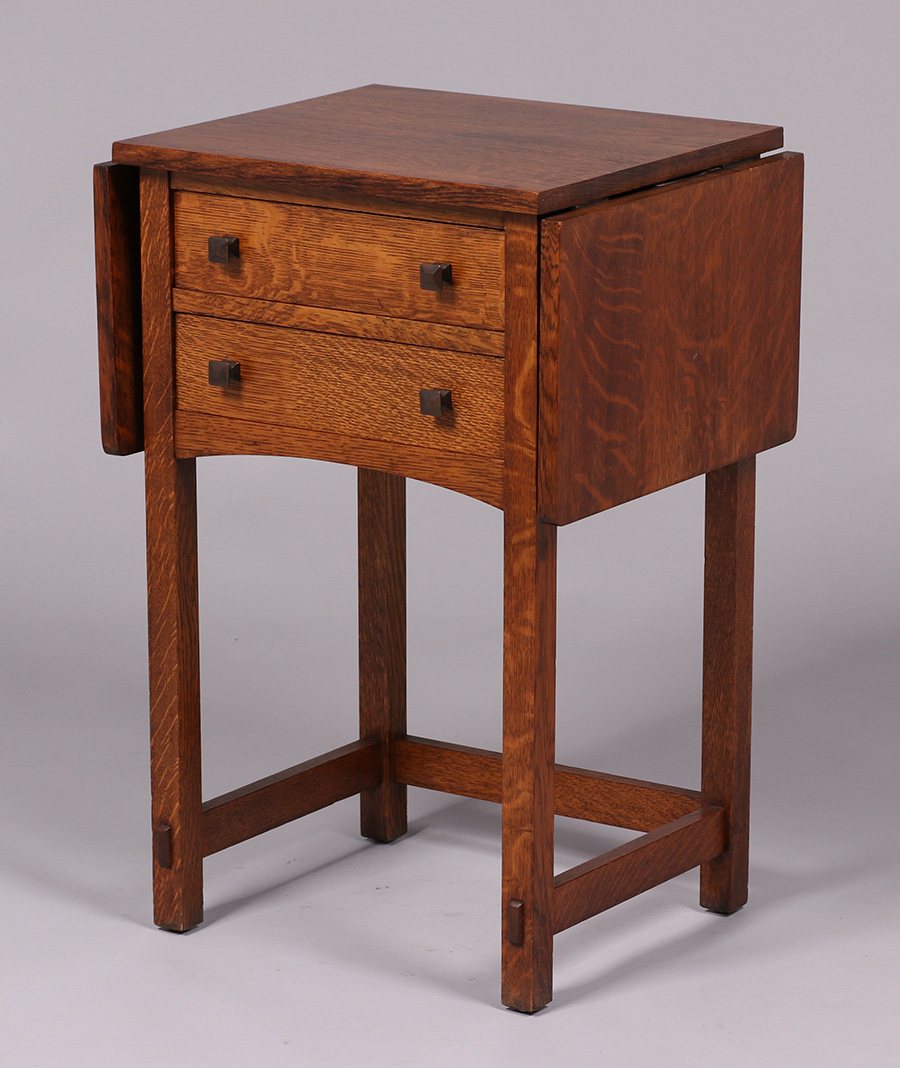 Limbert Two Drawer Drop Leaf Side Table California Historical Design
