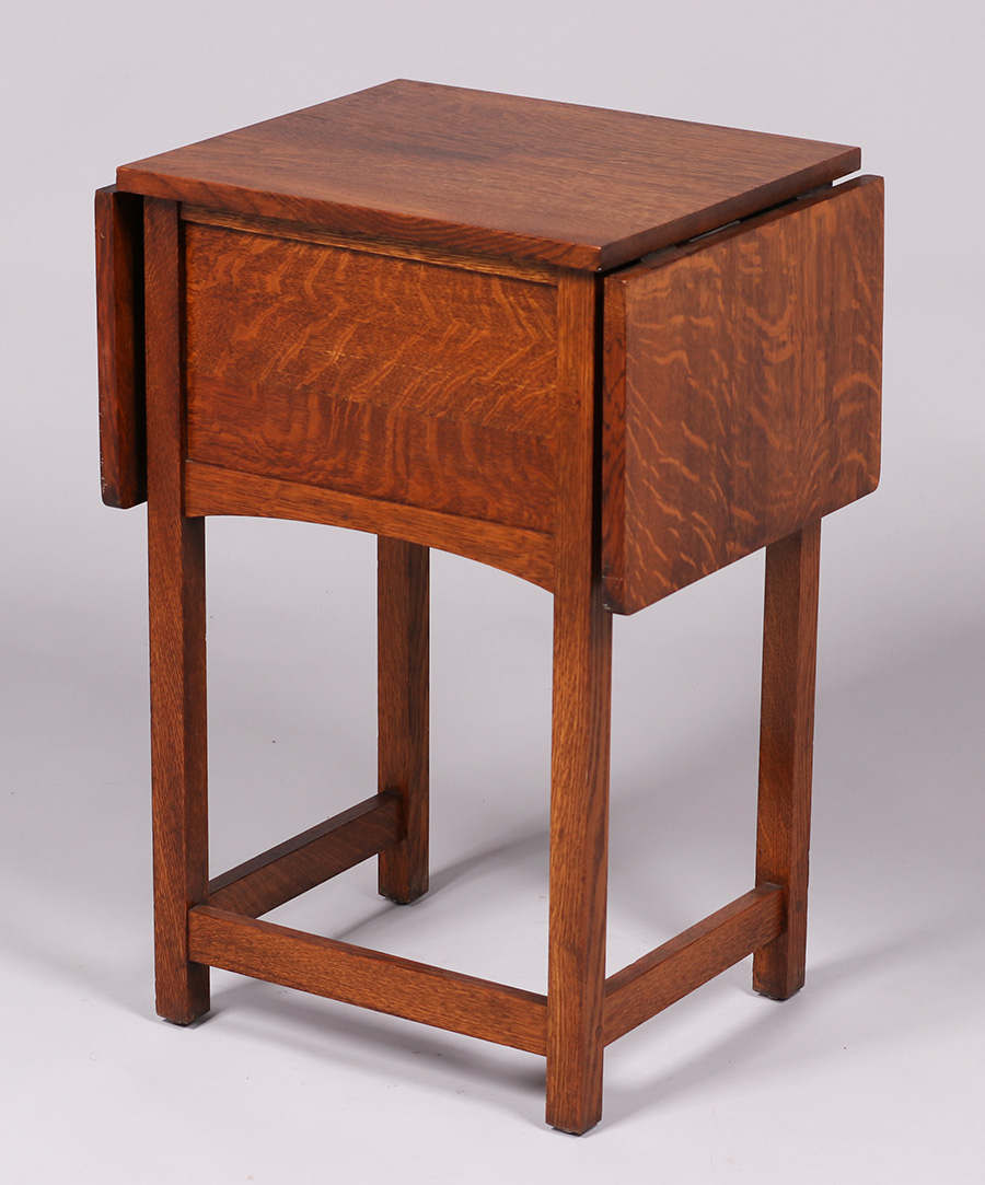 Limbert Two Drawer Drop Leaf Side Table. Signed. Excellent Original Finish.  29u2033h X 17.75u2033w (38.75u2033w Open) X 16u2033d SOLD