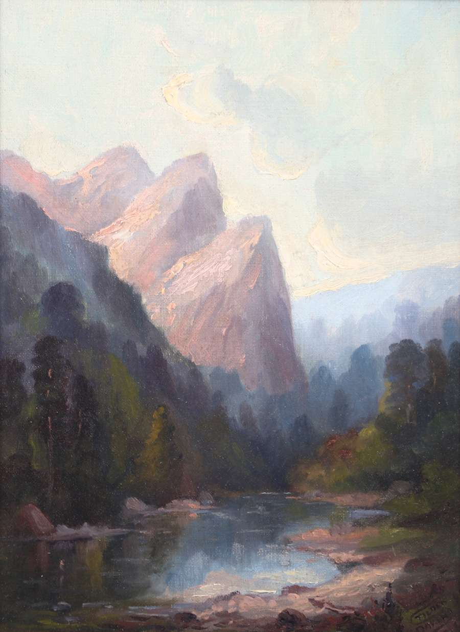 Samuel Tilden Daken Painting Yosemite S Three Sisters California Historical Design