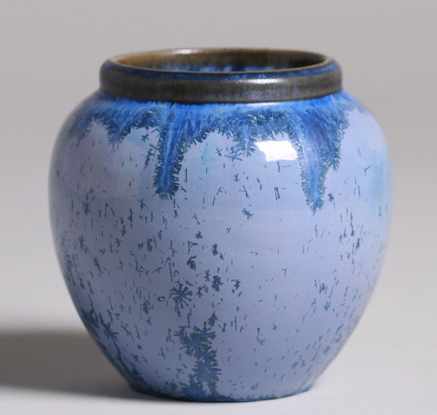 Fulper Pottery Blue Crystalline Vase California Historical Design