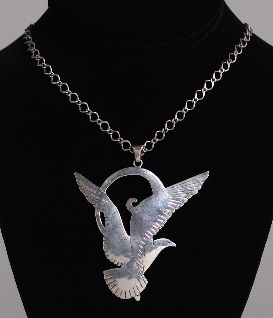 Gregor panis sterling silver seagull pendant necklace california gregor panis sterling silver cutout seagull pendant necklace c1920s panis was a member of the boston society of arts crafts signed 16 length mozeypictures Gallery
