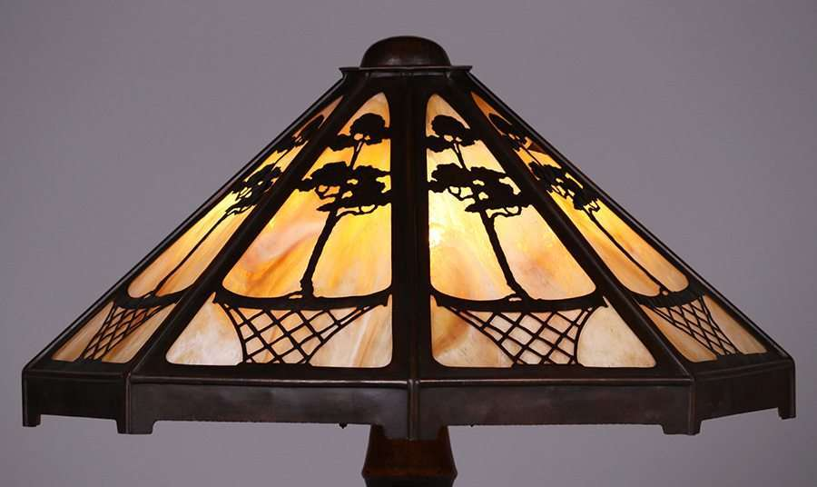 Stickley Brothers Hammered Copper Floor Lamp C1910 California Historical Design