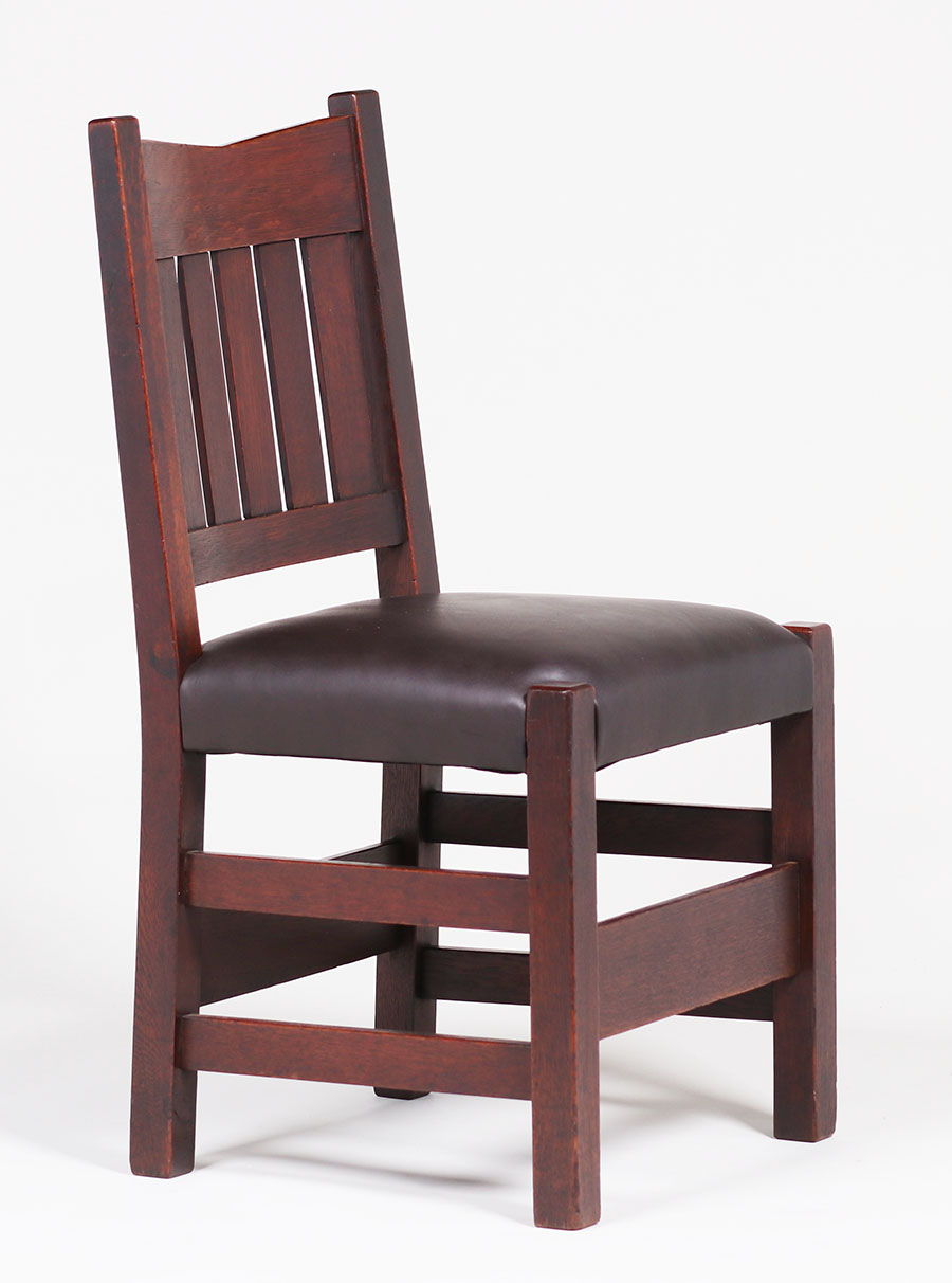 4 Gustav Stickley V Back Side Chairs California Historical Design