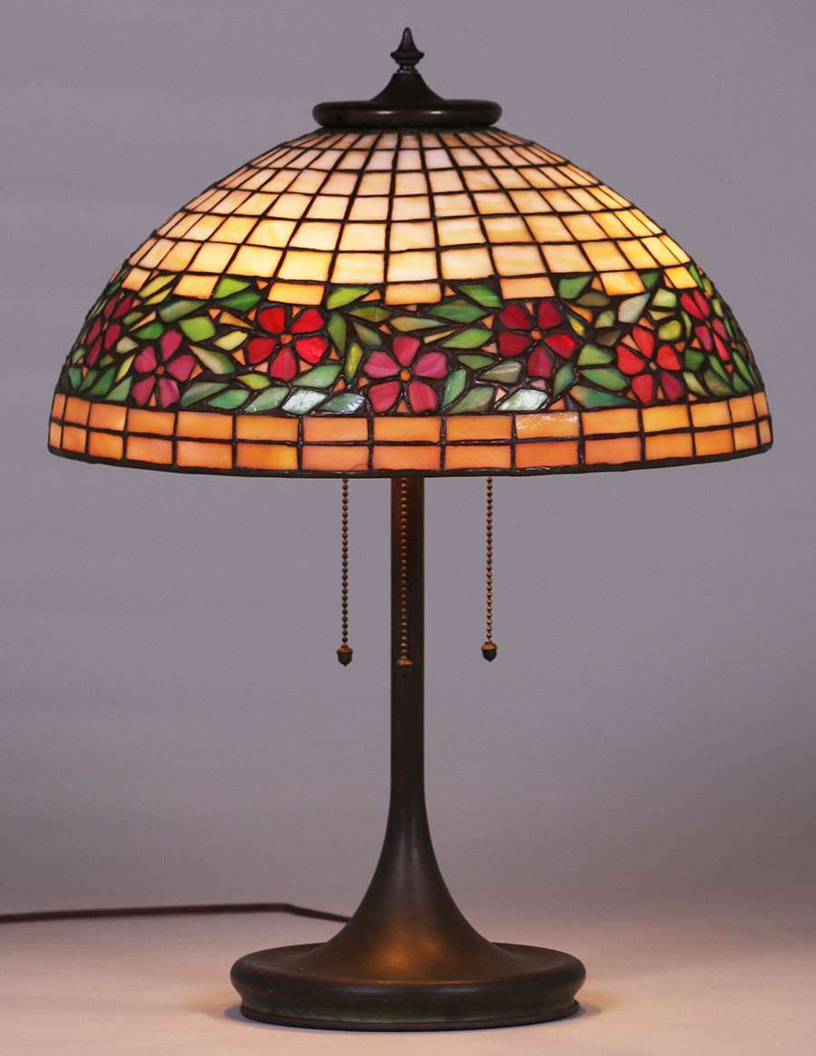 Unique leaded glass lamp c1903 1910 california historical design leaded glass technique expired in 1903 unique art glass and metal company was one of several companies that adopted tiffanys techniques and competed aloadofball Gallery