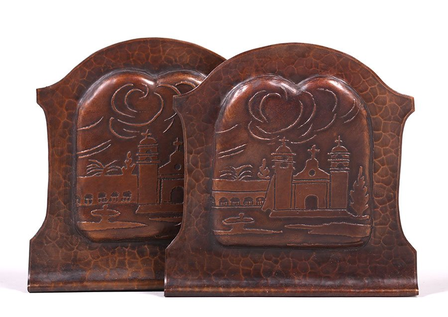 Pair Early Craftsman Studios Hammered Copper Mission