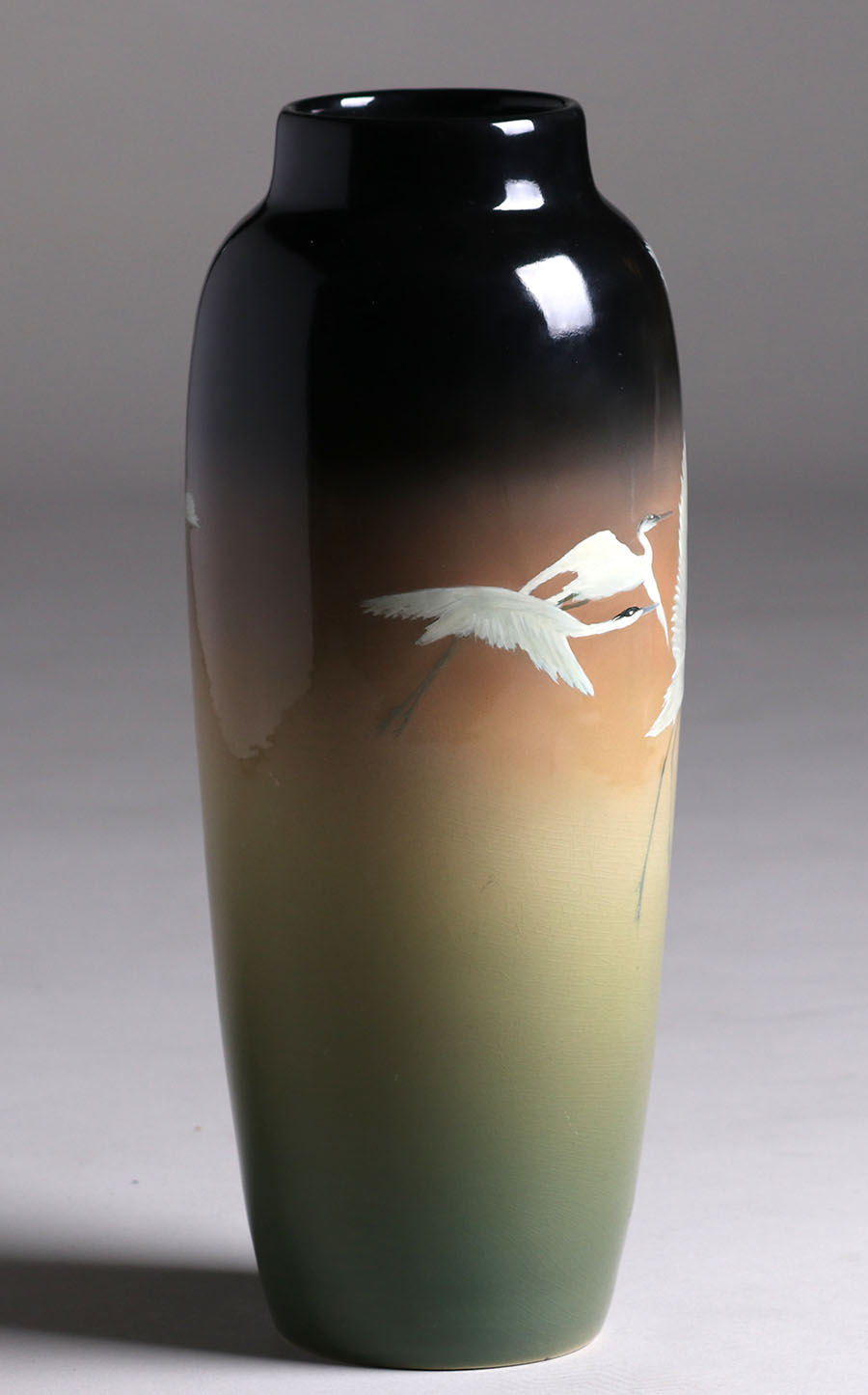 Rookwood Tall Black Iris Vase Flying Cranes 1908 Kataro