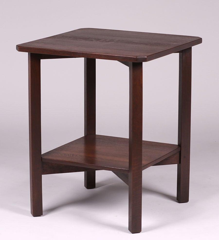 gustav stickley clip corner lamp table c1910