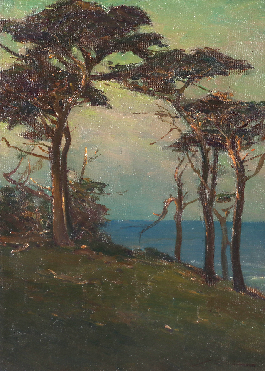 Charles Dickman Nocturnal Painting Monterey Cypress Trees Carmel C1910 California Historical