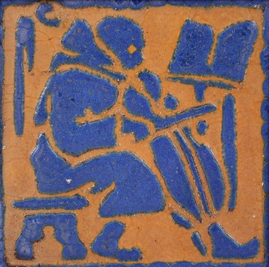 Grueby Faience Matte Blue Amp Ochre Cello Tile California