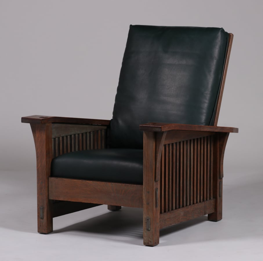 Mary Morris Chair Aerobics: Gustav Stickley Spindled Morris Chair C1907