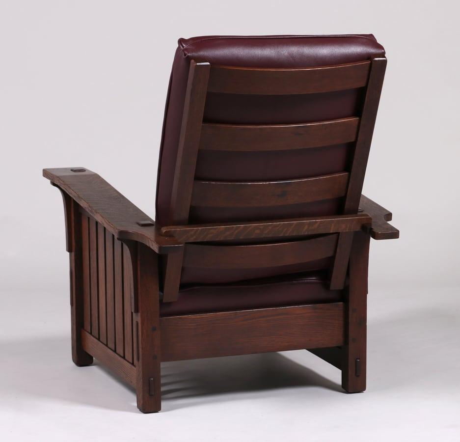 Mary Morris Chair Aerobics: L&JG Stickley #410 Bentarm Slatted Morris Chair C1910